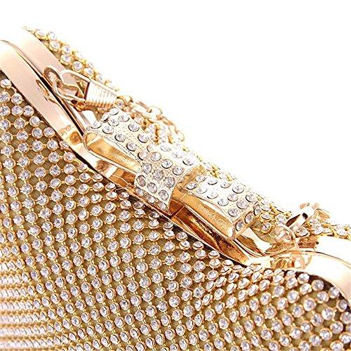 Donna Cristallo Lampeggia Borse Messenger Borse A Spalla ,Oro Oro