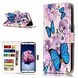 BONROY Huawei P Smart Hülle, Flip PU Leder Handyhülle Bookstyle Geprägt Muster Cover mit Kartenfächer Schutzhülle Etui für Huawei P Smart/Huawei Enjoy 7S -(YH-Blauer Schmetterling)