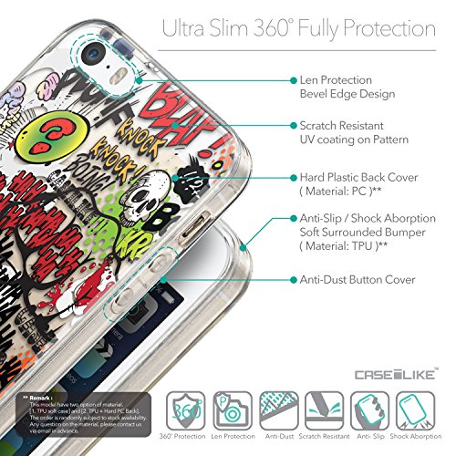 CASEiLIKE Comic Beschriftung Rosa 2912 Ultra Slim Back Hart Plastik Stoßstange Hülle Cover for Apple iPhone SE +Folie Displayschutzfolie +Eingabestift Touchstift (Zufällige Farbe) 2914