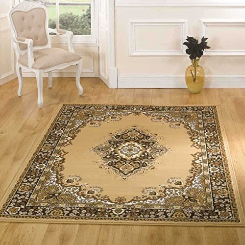 Extra große Qualität Traditionelle Medaillon Design Weiche Orient Teppich Mats, beige-160x 220cm (5'x 8') -