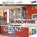 Küchenfolie Möbelfolie 100 cm x 61cm HOCHGLANZ PREIS TIP ! WUNSCHFARBE WÄHLEN Klebefolie von Folien-Discount24 - TapetenShop