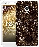 Sunrive Für Alcatel 1X Hülle Silikon, Transparent Handyhülle Schutzhülle Etui Case für Alcatel 1X 5059D(TPU Marmor Schwarzer)+Gratis Universal Eingabestift