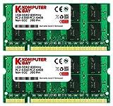 Komputerbay KB_2GB_2X1GB_PC2_6400_800_SODIMM - Tarjetas de Memoria SODIMM para portátiles, 2GB (2X 1GB), DDR2 800MHz PC2-6300/PC2-6400 DDR2 800 (200 pines)