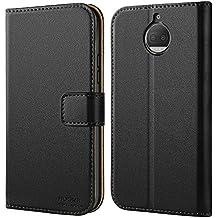 Cover Moto G5S Plus, HOOMIL Flip Caso in Pelle Premium Portafoglio Custodia per Motorola Moto G5S Plus (H3195, Nero)