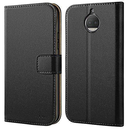 HOOMIL Moto G5S Plus Hülle, Handyhülle Moto G5S Plus Tasche Leder Flip Case Brieftasche Etui Schutzhülle für Motorola Moto G5S Plus Cover (Schwarz)