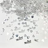 JZK 4 Pack Kunststoff Just Married Herz Silber Hochzeit Streudeko Konfetti Werfen Konfetti Tischdeko Confetti - 4