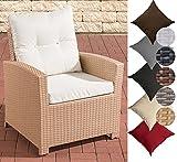 CLP Poly-Rattan Garten Sessel FISOLO mit Armlehnen, Gartenstuhl, Dining Sessel mit robustem Aluminium Gestell, inkl. Sitzkissen, 25 Farbvarianten Rattan Farbe: sand, Bezugfarbe: Cremeweiss