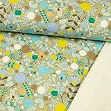 Stoffe Werning French Terry Digitaldruck Vögel & Blumen hellblau Sweat Sommersweat - Preis gilt für 0,5 Meter
