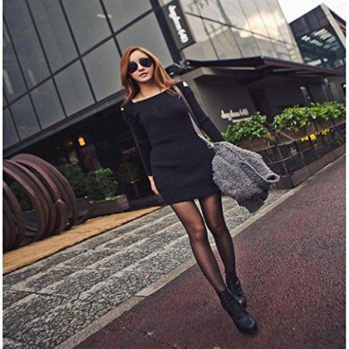 Robe Femme, Fulltime® Femmes ras du cou à manches longues en maille Tricots Mini Robe courte Noir