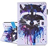 iPad Air / Air 2 / New iPad 9.7 inch 2017 Case, A-BEAUTY Painting Premium PU Leather Flip Wallet Slim Book Case for Apple iPad Air2 / iPad Air / and New iPad 9.7 inch 2017 Model, Multicolored Raccoon