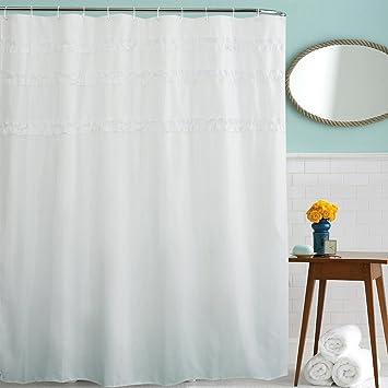 Pizzo bianco tessuto tenda doccia design, tenda per doccia e vasca ...
