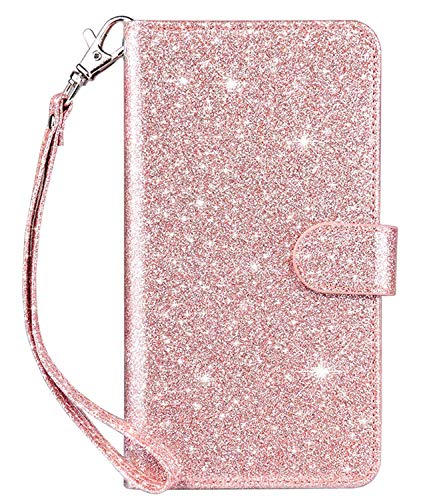 Dailylux Custodia iPhone XS Max,Scatto a Chiusura Magnetica Premium in Morbida Pelle PU di con 9 Slot per schede per iPhone XS Max 6.5 inch-9 Slot Glitter Rose Gold