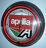 NEONUHR - NEON CLOCK - APRILIA SIGN WANDUHR BELEUCHTET MIT ROTEN NEON RING!