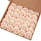 Marry Acting Artificial Flower Rose, 30pcs Real Touch Artificial Roses for DIY Bouquets Wedding Party Baby Shower Home Decor