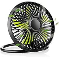 EASEHOLD Ventilador de Mesa USB con 2 velocidades, Ventilador Silencioso Verde y Negro