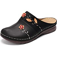 gracosy Mule Clogs Shoes for Women Summer PU Leather Slip on Sandal Anti Slip Loafer Flat Vintage Kitchen Garden Mules…