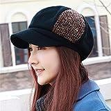 Donne ladies moda femminile inverno Hat Beret e cashmere fashion hat faccia piccolo tappo ottagonale significativamente berretto per circonferenza testa di M (56-58cm) può essere regolata,M (56-58cm),nero