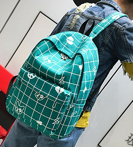 Keshi Leinwand neuer Stil Schulrucksäcke/Rucksack Damen/Mädchen Vintage Schule Rucksäcke mit Moderner Streifen für Teens Jungen Studenten Grün