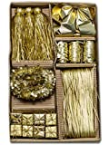 Sia 88081 Weihnachtsdeko Set Schleifen und Bänder Baumschmuck Gold 18-teilig