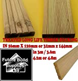 5 x Treated Timber Decking Boards A Grade quality 32mm Thick x 144mm Wide x 4.8m Long For use in the Garden
