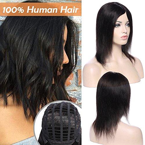 Parrucca donna nera lunga capelli veri umani naturali lisci brasiliani 100% remy human hair 25cm parrucche full wig straight 130g