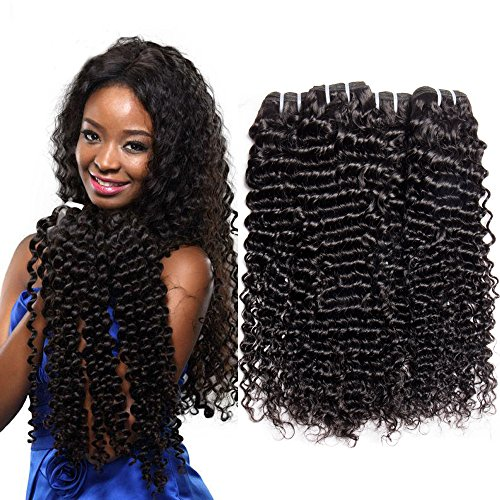 zilian Deep Wave Hair Unprocessed Human Hair Weft Virgin Deep Curly Wave Hair 100g/per Bundle Natural Black Color 14 14 14 Inches ()