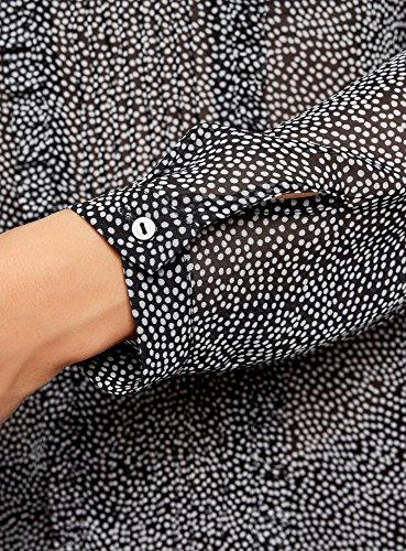 oodji Ultra Damen Chiffon-Bluse mit Rüschen Schwarz (2930D)