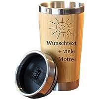 Kaffeebecher mit Namen + Motiv Gravur in Holz Optik, Isolierbecher groß 0,4 L für Coffee to go, Kaffee Edelstahlbecher…