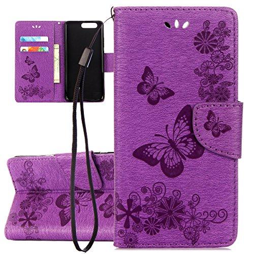ISAKEN Custodia per Huawei P10 Plus, Flip Cover per Huawei P10 Plus, Libro Tinta Unita Farfalla Design PU Pelle Portafoglio Caso con Supporto di Stand/Carte Slot/Chiusura - Farfalla: Violet