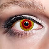 KwikSibs farbige rote Kontaktlinsen Dämonenaugen 1 Paar (= 2 Linsen) weiche Funlinsen inklusive Behälter, K539 (Stärke / Dioptrie: 0 (ohne))