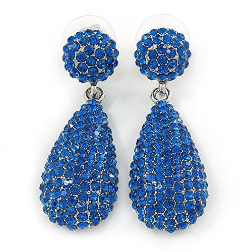 Orecchini a goccia, con cristalli austriaci blu zaffiro incastonati a pavè, da sposa, ballo, cerimonia, placcati in rodio,48mm di lunghezza
