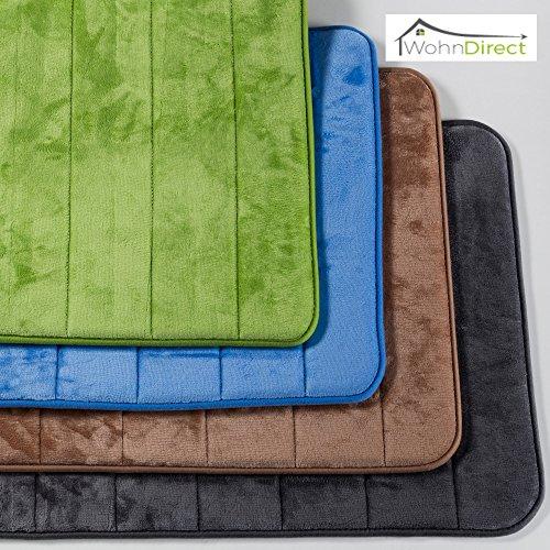 Duft-Badematte | Rutschfester Badvorleger | Waschbar & Schnelltrocknend | Moderner Microfaser Duschvorleger | Badteppich für Badezimmer | Flauschig & Weich | WohnDirect – BLAU 50 x 80 cm (Große Rutschfeste Badteppich)