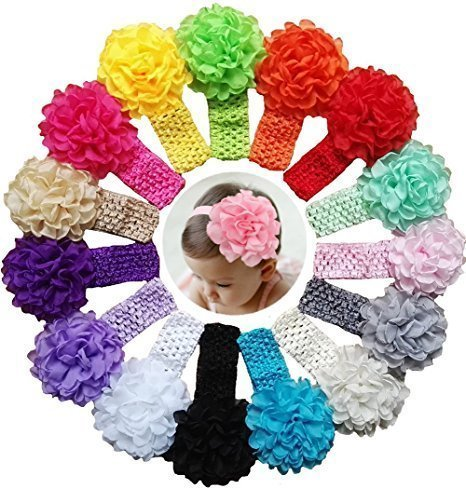 15 Pack Flower Headbands for Baby Girl...