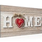 Runa Art Bild Home Herz Wandbild Vlies - Leinwand Bilder XXL Format Wandbilder Wohnzimmer Wohnung Deko Kunstdrucke Rot 1 Teilig - Made in Germany - Fertig Zum Aufhängen 505214a