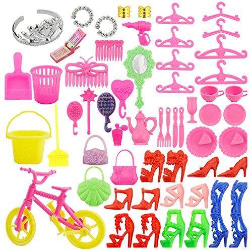 Puppenzubehör,Beetest 55 PCS Komplette Puppe Zubehör Kit High Heels Ringe Taschen Bike Handy Kleidung Und Spielen Zubehör für Barbie Spielzeug Kinder Mädchen Geburtstag Weihnachten Geschenk (Barbie-puppe-handy)