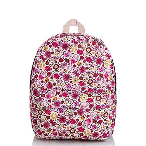 Borsa blu e viola vintage floreale stampato sacchetto di zaino per scuola della borsa del computer portatile dello zaino della tela di canapa per le ragazze delle ragazze delle ragazze Fiori rossi viola