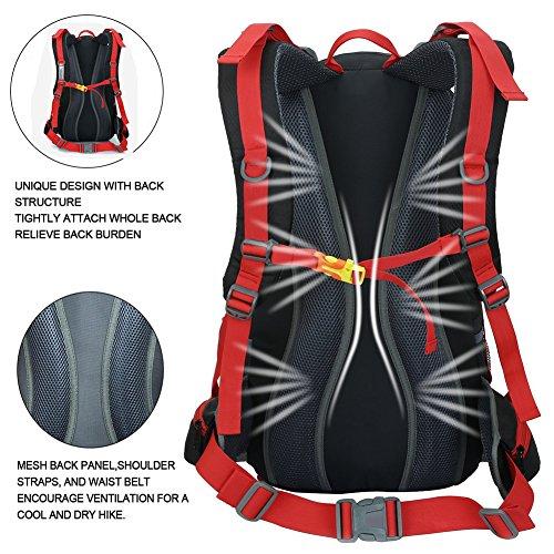 Wander Rucksack 50L Nylon Wasserdicht Outdoor Rucksack Atmungsaktiver Verstellbarer Schulterriemen Travel Rucksack Camping Mountaineering Rucksack & Regenschutz Schwarz