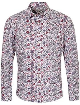 Almsach Trachtenhemd Leonhard Slim Fit Mehrfarbig in Weiß und Rot Inklusive Volksfestfinder