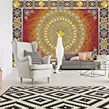 FORWALL Fototapete Vlies - Tapete Moderne Wanddeko Goldene und rote Mandala VEXXL (312cm. x 219cm.) AMF10372VEXXL