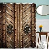 Beddingleer Duschvorhang Anti-Schimmel, Anti-Bakteriell Wasserabweisender Stoff Badezimmer mit 12 Duschvorhangringe ,180 x 180 cm Retro Holztür