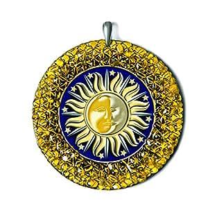 Sun-Moon Pagan Amber Amulet Handmade Charm Medalion - Pagan, Spiritual, New Age Gift