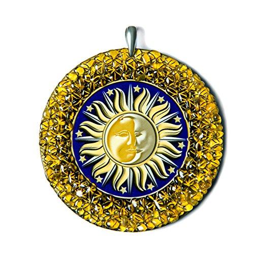 Preisvergleich Produktbild Sonne-Mond heidnischen Bernstein Amulett handgemachte Charme Medalion - heidnischen, spirituelle, New Age Geschenk
