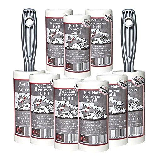 Artikelbild: Caraselle 2 Stück PET Haarentferner Klebe Roller, Bürste mit 7 Nachfüllungen - 67,5 Meter lange Rollen mit Klebepapier