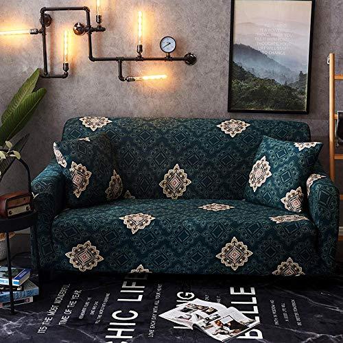 ACSHOW 3Er Sofa Überzug,Floral Bedruckte Sofa Couch Cover Hussen elastische Stretch Möbel Protektoren für Wohnzimmer Sofa Handtuch 1/2/3/4-Sitzer@Farbe 14_4-Sitzer 235-300cm