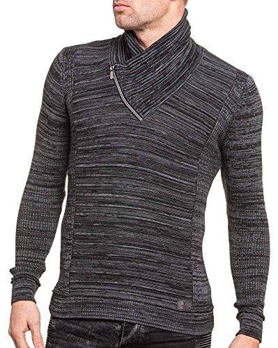 BLZ jeans - Pullover homme noir chiné col châle zip Noir