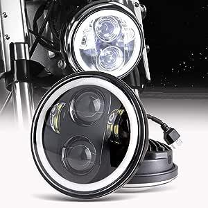 5 75 Zoll Led Motorrad Scheinwerfer Frontscheinwerfer Angel Eye Weißer Für Harley Davidson Wasserdichter Jeep Auto