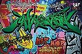 Poster Graffiti Wand Dekoration bunte Zeichen Schriftzüge Pop Art Mauer Street Style Writing Hip Hop Wallpaper Street Art wall| Wandposter Fotoposter Bild Wandgestaltung by GREAT ART (140 x 100 cm)
