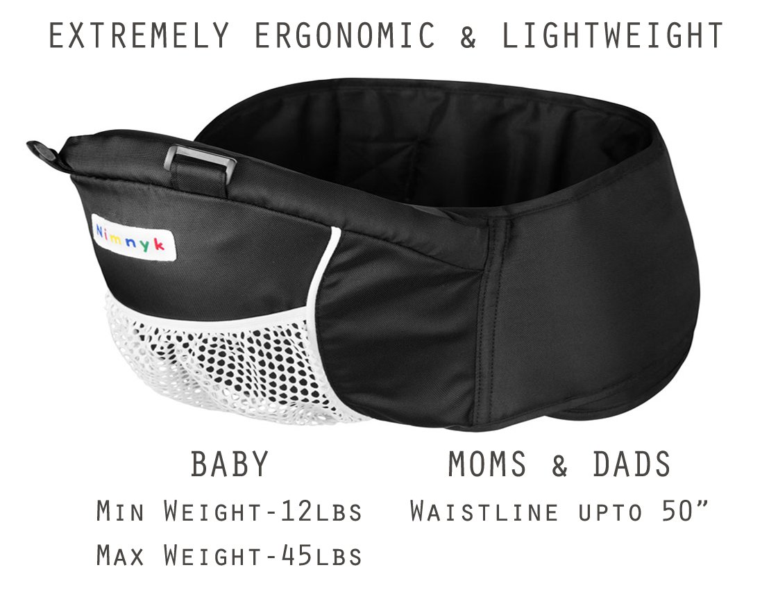 Baby Carrier Hip Seat Sling by NimNik Best Safe Backpack Carriers Back Pain Support (Pearl Black) NimNik ★ NO MORE BACK AND SHOULDER PAIN - NimNik offers an innovation in baby carrying fashion and quality for girls and boys! This Soft Structured Baby Carrier is not only versatile with four different carry positions, but perfectly comfortable for both you and your little one. That twined with unmatched durability makes NimNik Baby Carriers a popular choice in ergonomic baby carriers! ★ DESIGNED FOR STYLE AND COMFORT - With superior padding in our adjustable EXTRA LONG WAIST STRAPS (50 inches / 125 cms) and ergonomic lumbar support for you, say goodbye to backpain and other back, hip and shoulder related carrying issues. With the extremely ergonomic hip seat, you can rest assured that your little one is sitting pretty in style and comfort no matter how you carry! ★ PREMIUM COTTON FOR SOFT AND COSY FEELING - From front facing out and facing in, to hip, to back carry, you'll be comfortable, and so will children. Not every baby likes to be carried the same way, from 6 months and up. Our baby carrier comes with a wide range of comfortable carry positions to use as best suits the both of you, without the back pain after maternity. 6