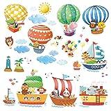 Decowall DA-1406B1506A Mongolfiere con Animali e Navi Adesivi da Parete Decorazioni Parete Stickers Murali Soggiorno Asilo Nido Camera da Letto per Bambini