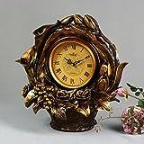 MYITIAN European-Style Retro-Stil Korb Uhr Sprung-Sekunden Stille Bewegung der Sonnenuhr Harz Pendeluhr Stockuhr